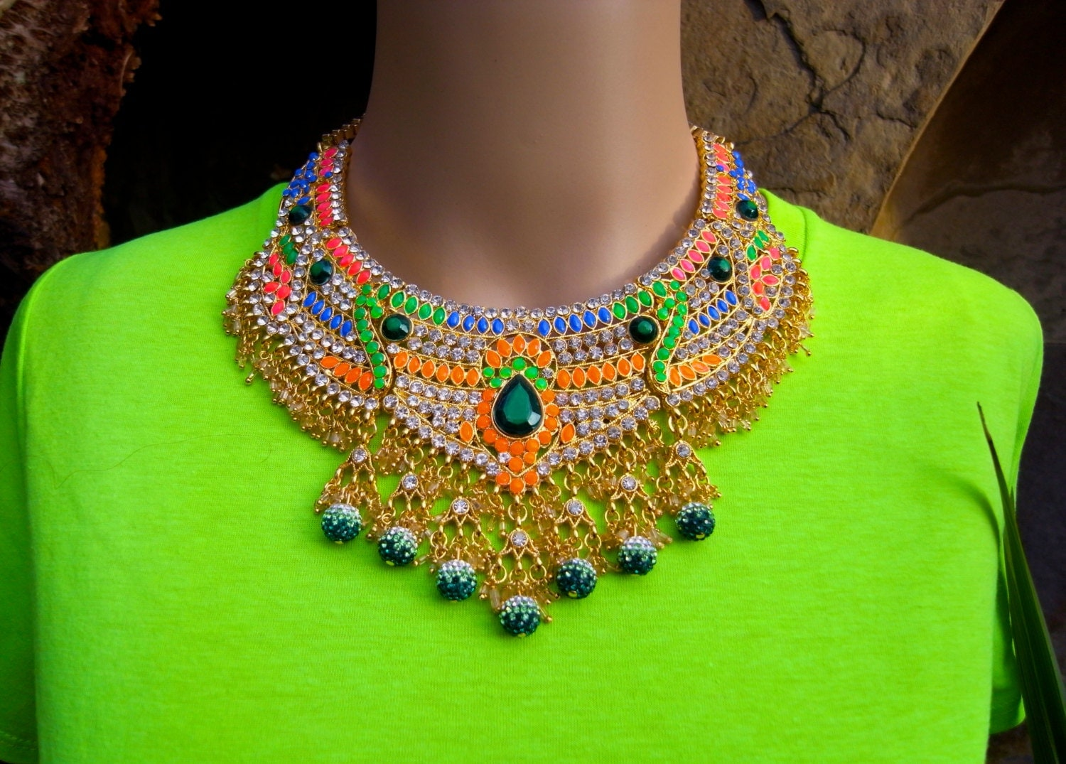 Paradise Carnivà le - Hand Painted Neon Rhinestone - bib - Statement Necklace - boho Jewelry - Ibiza - Festival Chic - one of a kind jewelry. - GreenEyeRocks