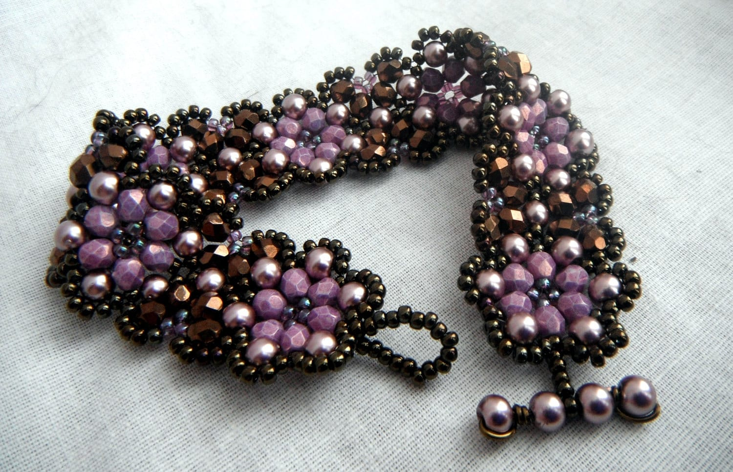 Floral Chain Cuff Bracelet - Dark Bronze, Chocolate and Lilac Purple - OceanPearlJewellery