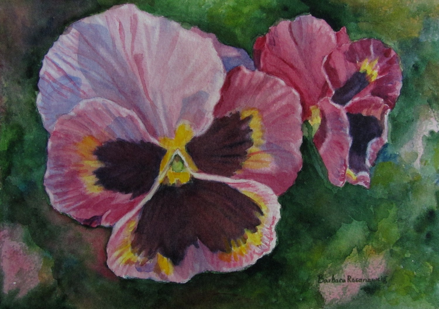 Original Pansies Botanical Art: Watercolor Painting 10x8
