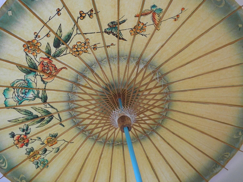 Vintage Japanese Paper Bamboo Sun Umbrella - GrandVintageFinery