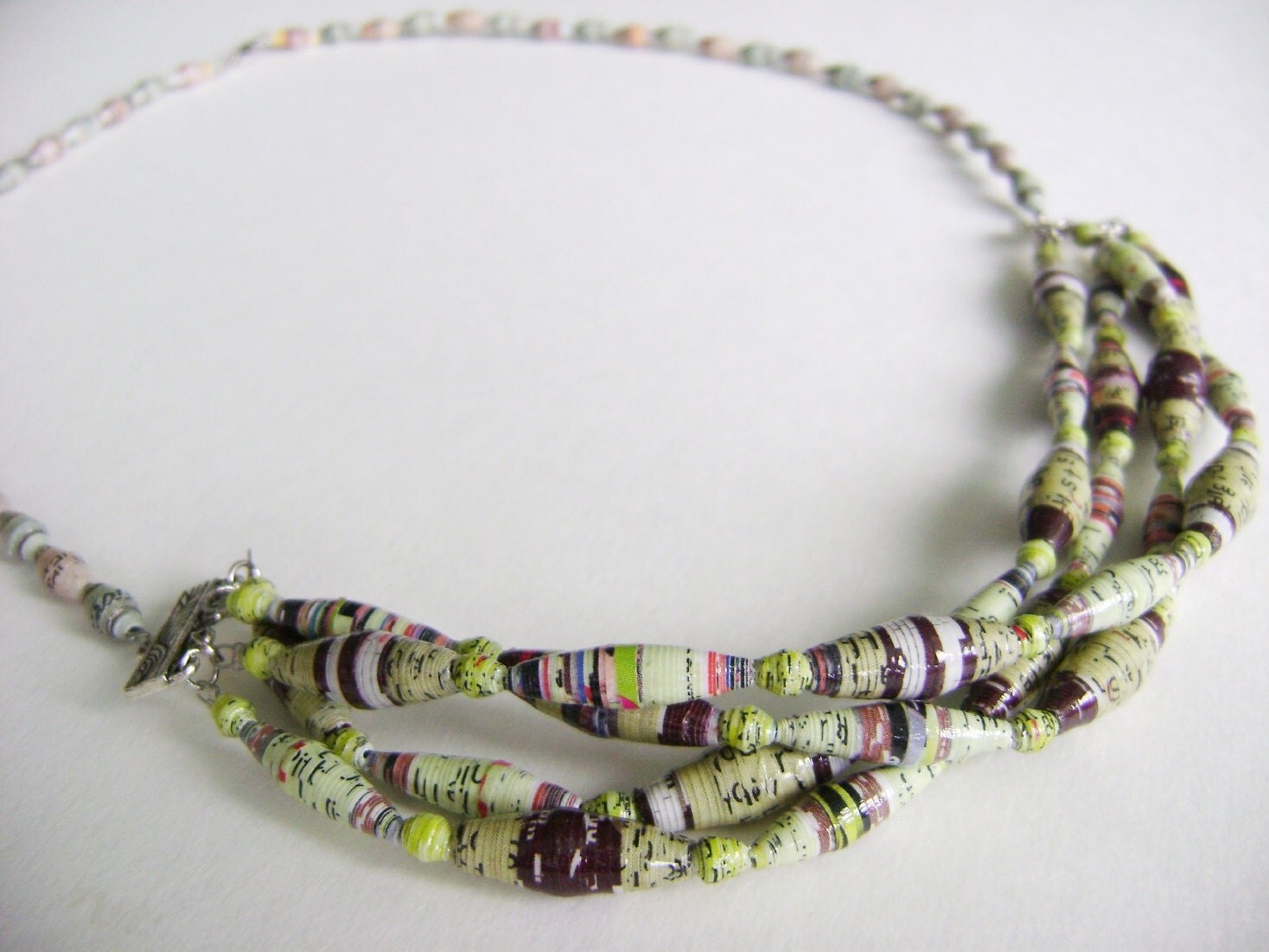 Recycled Paper Bead Necklace- Multi-Stranded Earth-tone Bead, Eco-Friendly, Lightweight Necklace - NightLightCrafts