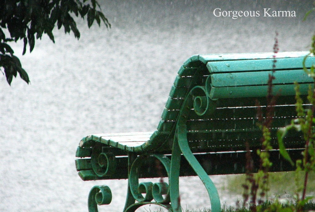 HOLIDAY SALE 8x12 Bench Therapy in Rain Drizzle - Fine art photography in Matte