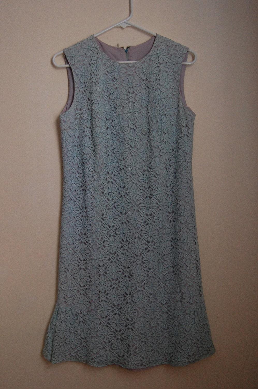 Vintage GARDEN PARTY Blue Lace Dress - Medium SALE