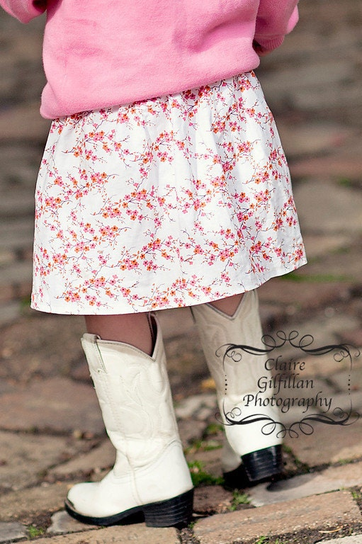 cherry blossoms - baby toddler girls skirt - handmade by noah and lilah - noahandlilah