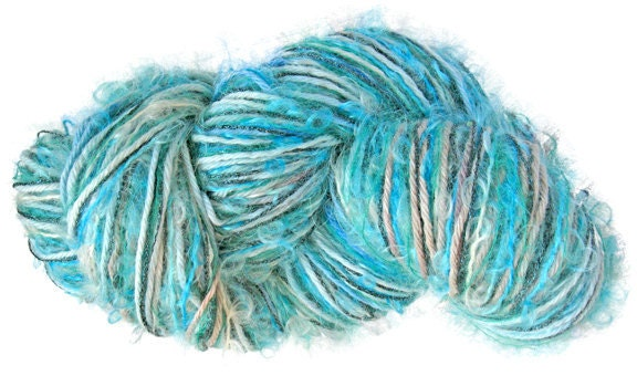 Stranded Skeins OOAK 4-strand multi-textured yarn in Aqua- 120 yds. - Knittique