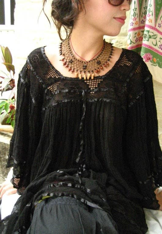 Mexican Embroidered Dress Tunic unique Fairy butterfly sleeves Bohemian Chic