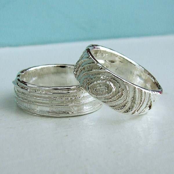 set of two sterling silver wood grain wedding by oneloomstudio
