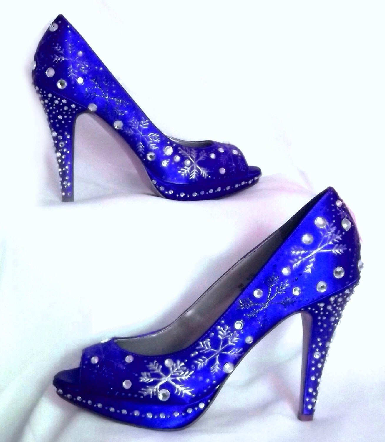 Wedding Shoes Snowflakes Winter Sapphire Blue By Norakaren
