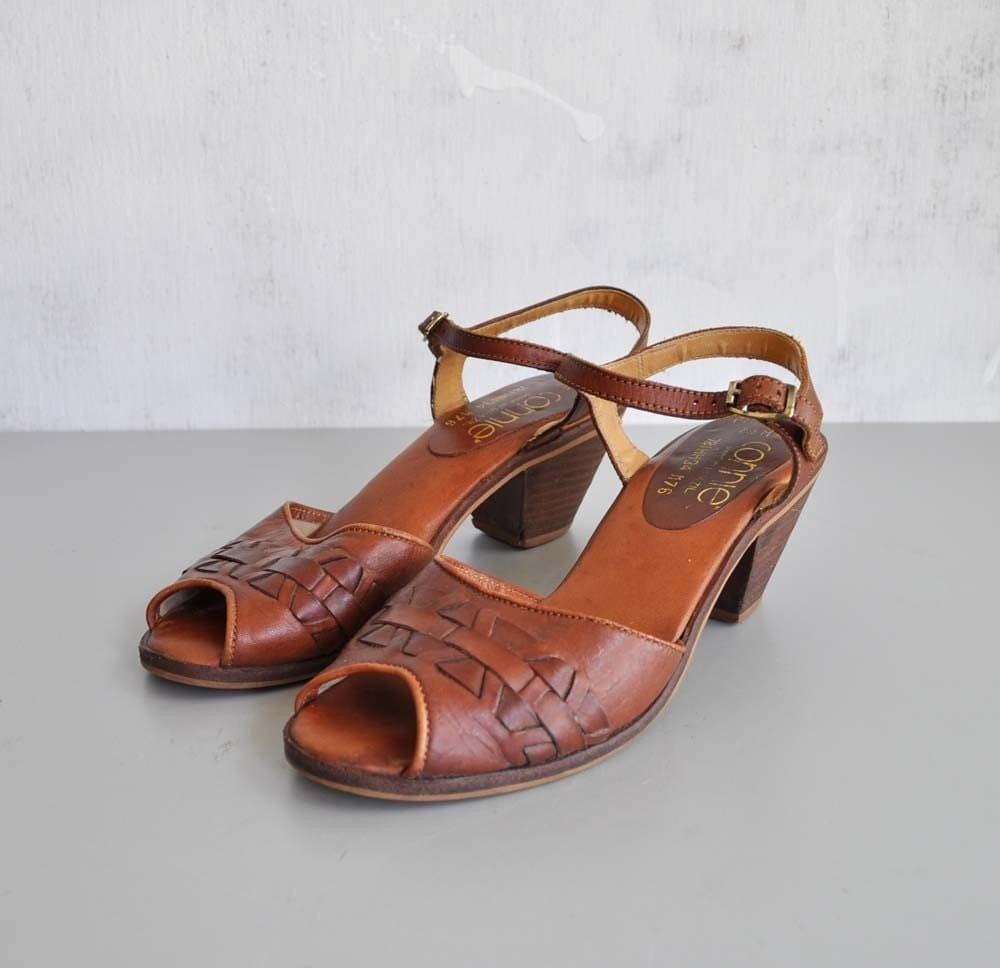 Vintage CINNAMON Leather Peep Toe Sandals by MariesVintage from etsy.com