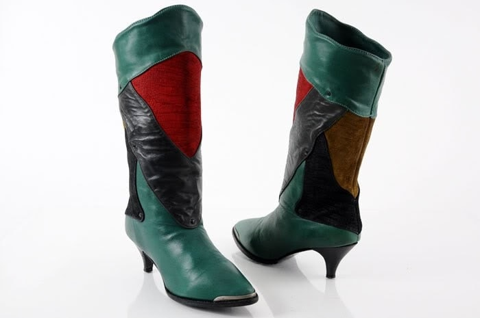 Vintage ZODIAC boots - avant garde colorblock leader and suede