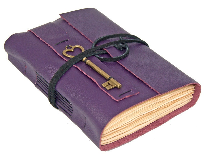 Purple Leather Journal with Tea Stained Pages - boundbyhand