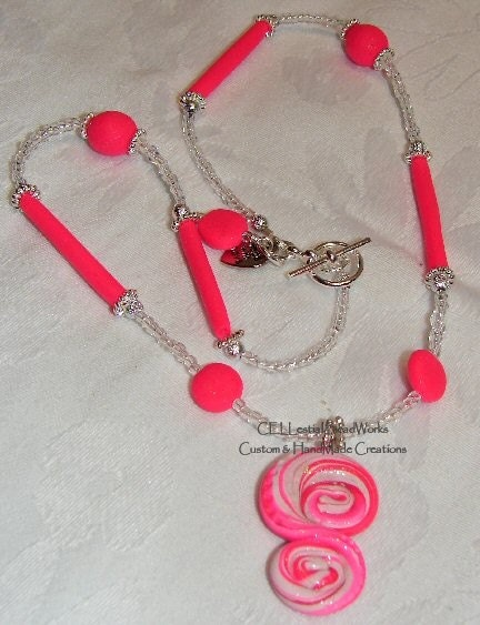 Hot Pink SWIRL RAPTURE Polymer Clay Necklace