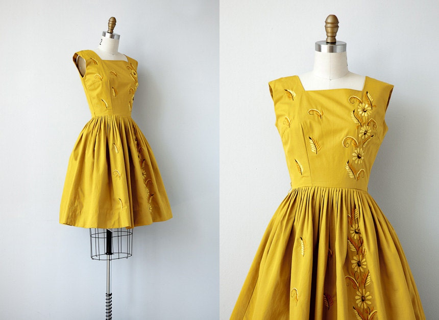 vintage 1950s dress / vintage 50s dress / marigold embroidered party dress