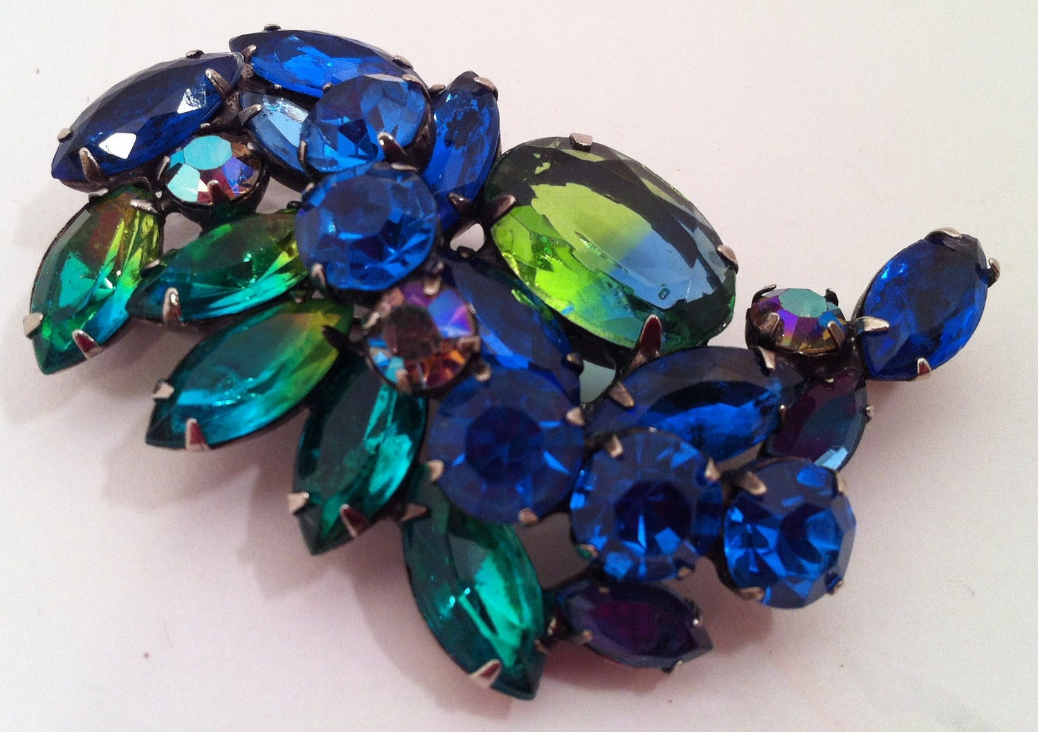 Kramer Watermelon Rhinestone Brooch, Blue and Green Rhinestones, FREE SHIPPING
