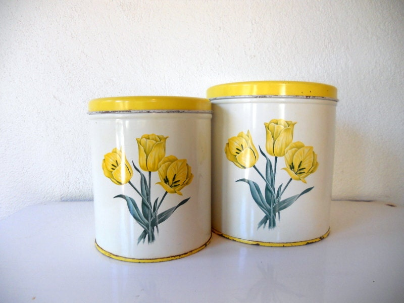 vintage yellow canister set decoware tulip kitchen canister set