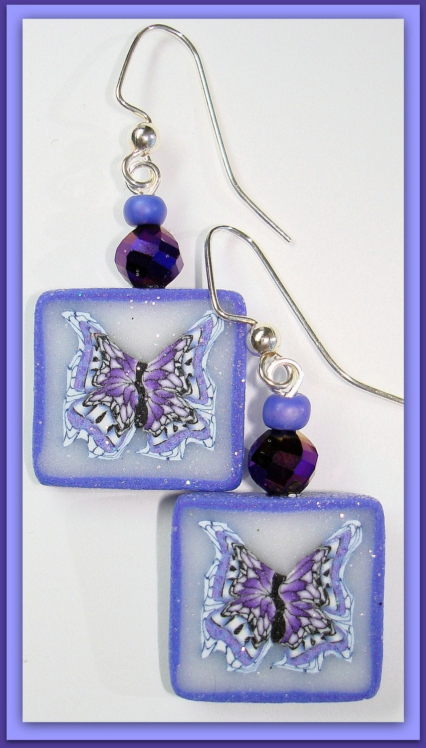 Polymer Clay Handmade Butterfly Earrings & Swarovski Crystals
