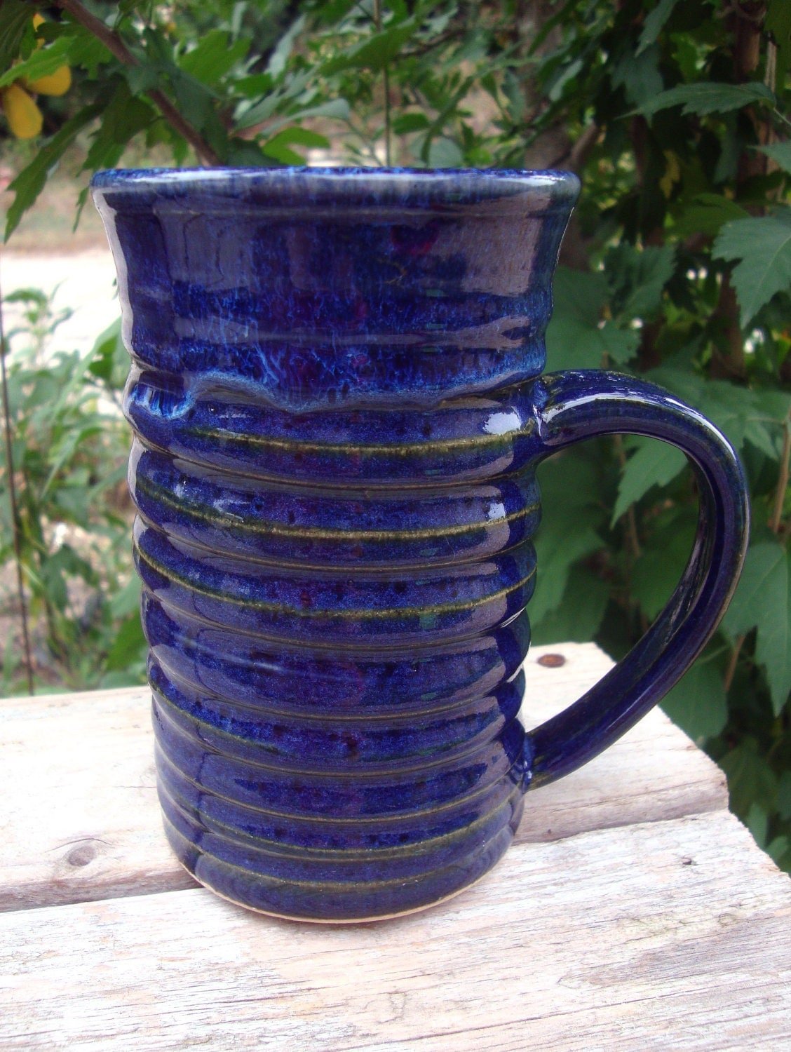 Carved Coffee Tea Stoneware Mug Sapphire Blue - RedBarnStudio