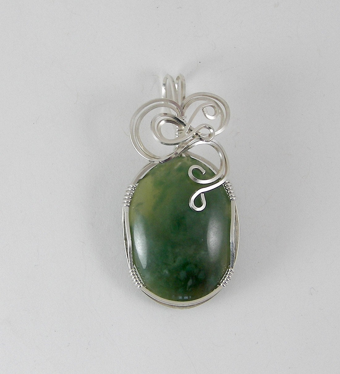 HOLIDAY SALE RESERVED - Wire Wrapped Jade Pendant