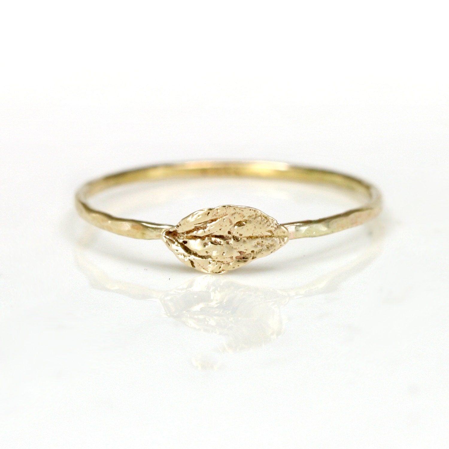 14k gold leaf ring gold stacking ring with by