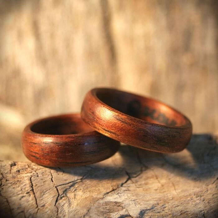 Hawaiian Koa Wood Ring Set ( 2 )