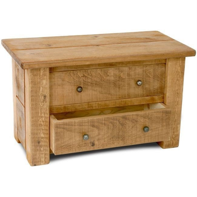 Rustic plank Furniture New Real Solid Wood Chunky Style Rustic Plank Pine sawn Furniture Console Hall Side Table with 2 drawers