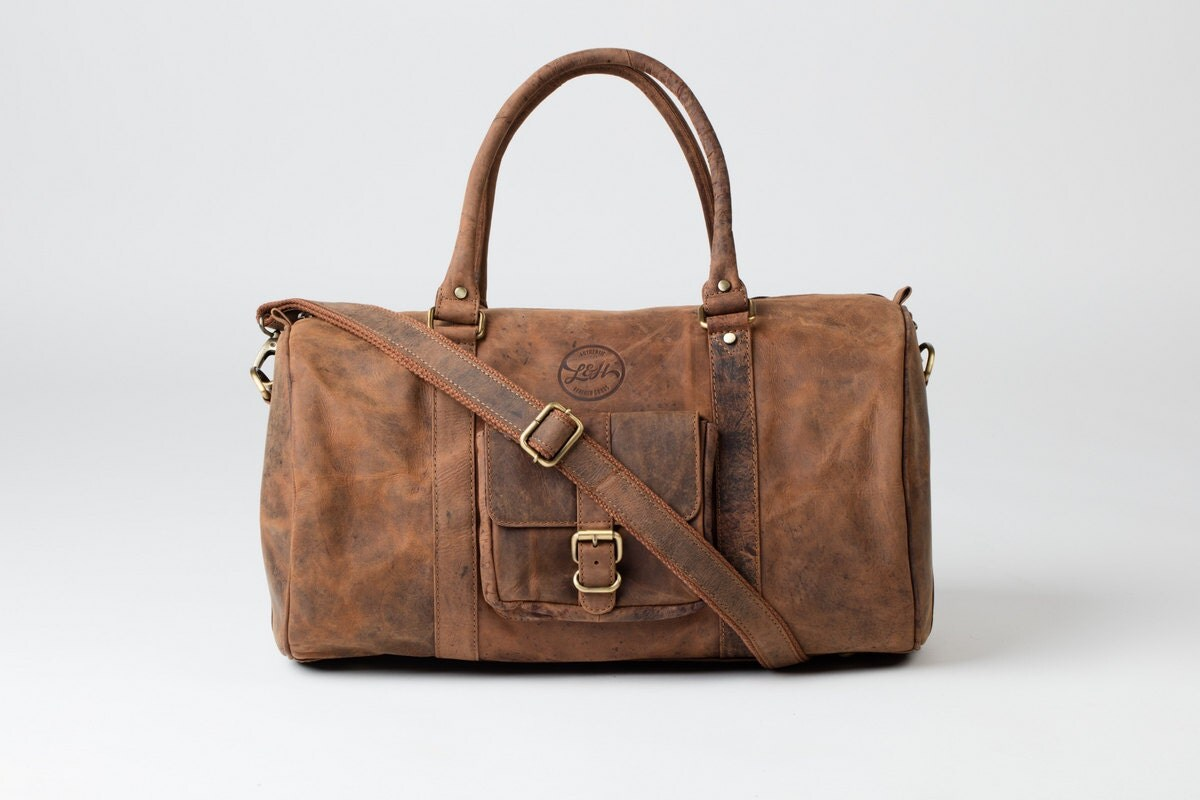 LEATHER DUFFLE BAG  Vintage style brown leather holdall duffel weekend bag carry on flight luggage gift
