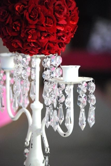 Red rose candelabra wedding centerpiece by cre tivedesignsinc
