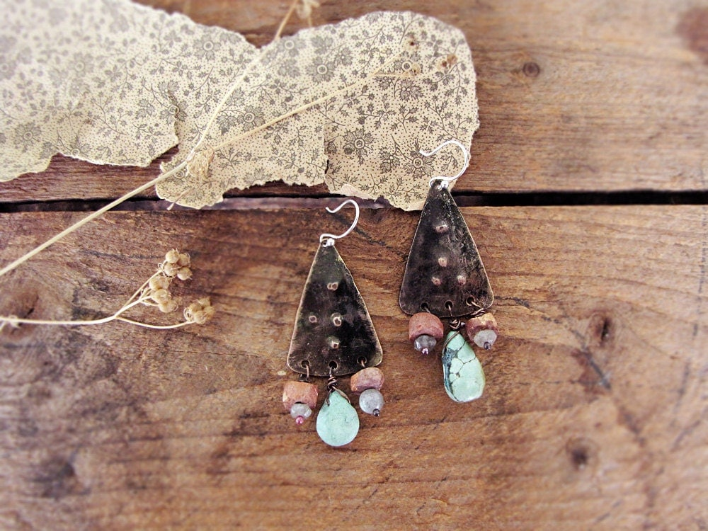 Cloud Sister - artisan earrings - hammered metal - stone beads - primitive modern