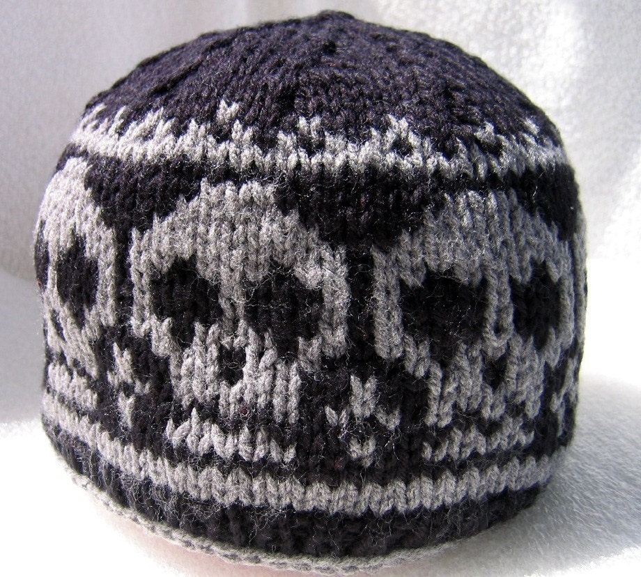 Knitting Pattern Hat Skull : Pirate Ahoy Knitted Skull hat Size L for adults by NingNingGong