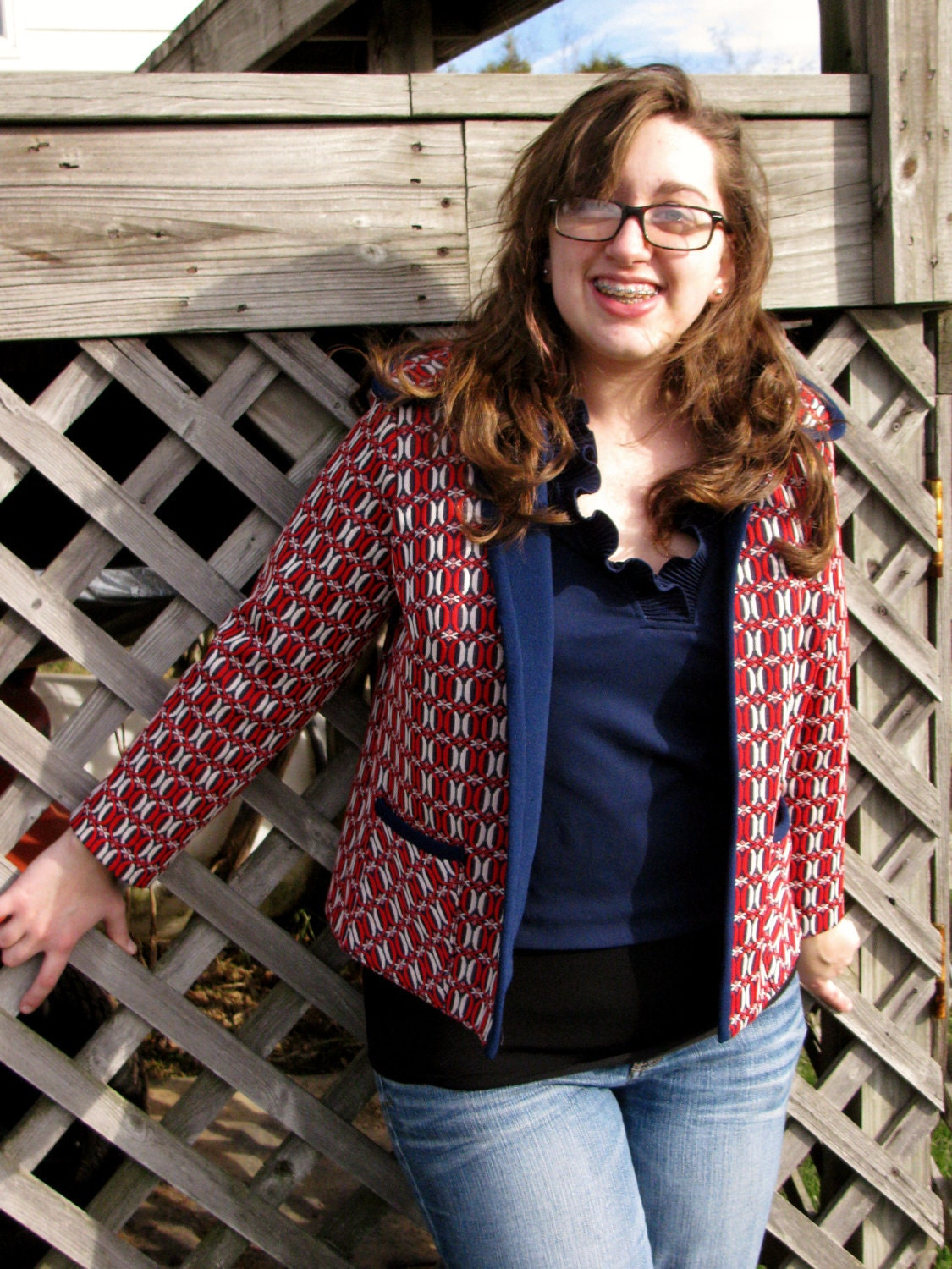 Red 1970's Patterned Jacket