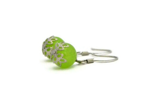 Lime green earrings bridesmaids weddings - Ahkriti