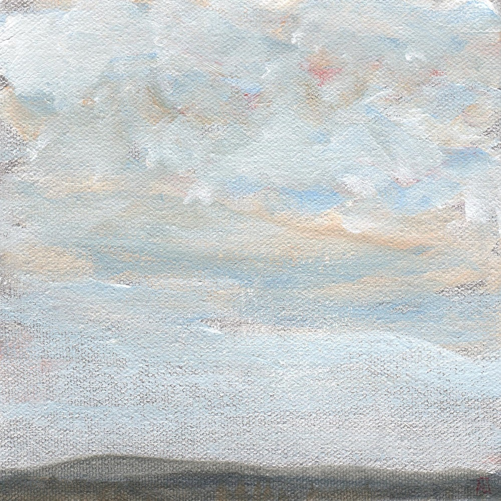 Art Print Clouds and Mountains landscape art abstract acrylic landscape painting print in muted colors Fall Art Winter Art 8x8 inches - LetsAllMakeBelieve
