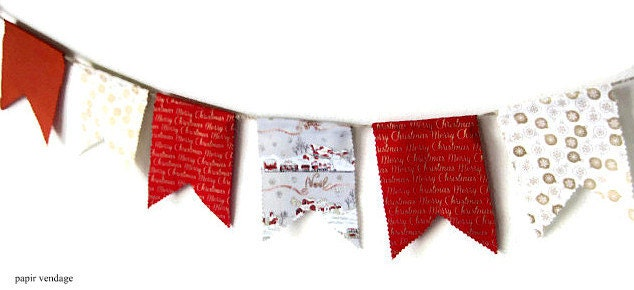 Noel Christmas Bunting Banner, Christmas Decorations, Christmas 9ft. Fabric Banner, Christmas Red, & Gold White Bunting, OOAK Handmade - papirvendage