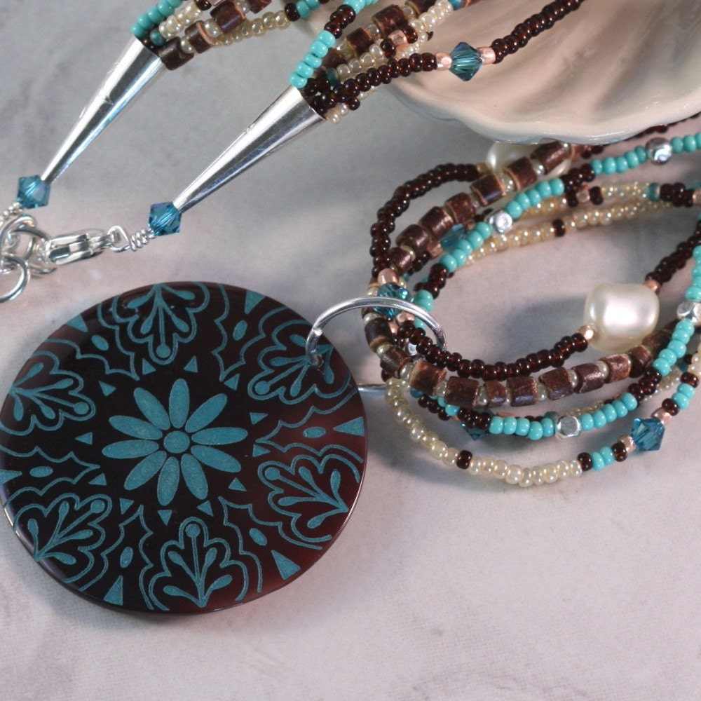 Coconut Heishe and Pearl Necklace with Teal Shell Pendant