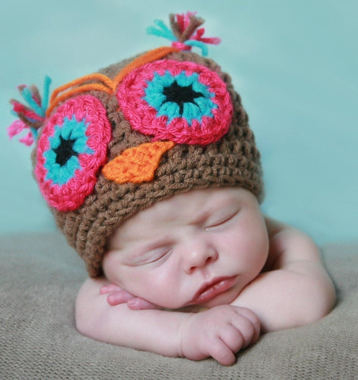 Marsha The OWL  handmade crochet HAT Newborn  to 10 years old