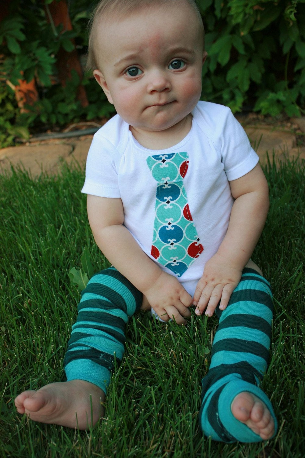Sale-Tie applique onesie -Ready to ship- size 6 month