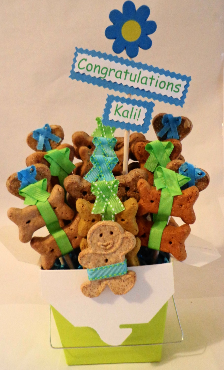 Etsy Dog Gift Baskets : Get well dog biscuit treat gift basket by petiblecreations