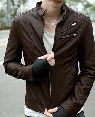 کلاسیک قهوه ای تیره چرم سبک ژاکت کوتاه برای مردان