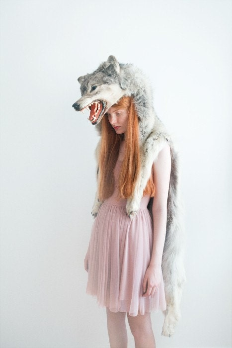 Girl with wolf II, signed photograph 8x12