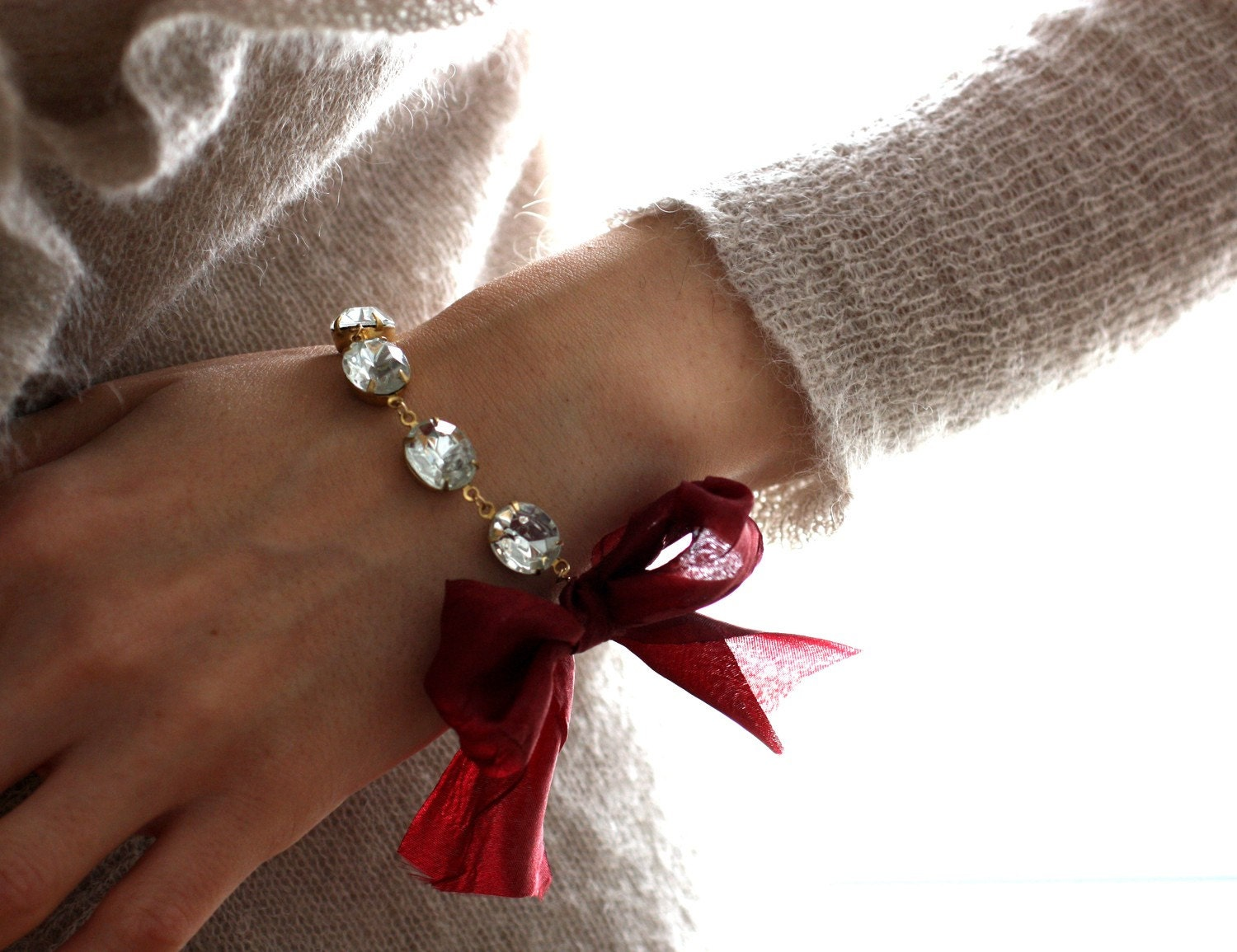 Vintage Jewel Bracelet with Wine Ribbon. The Duchess