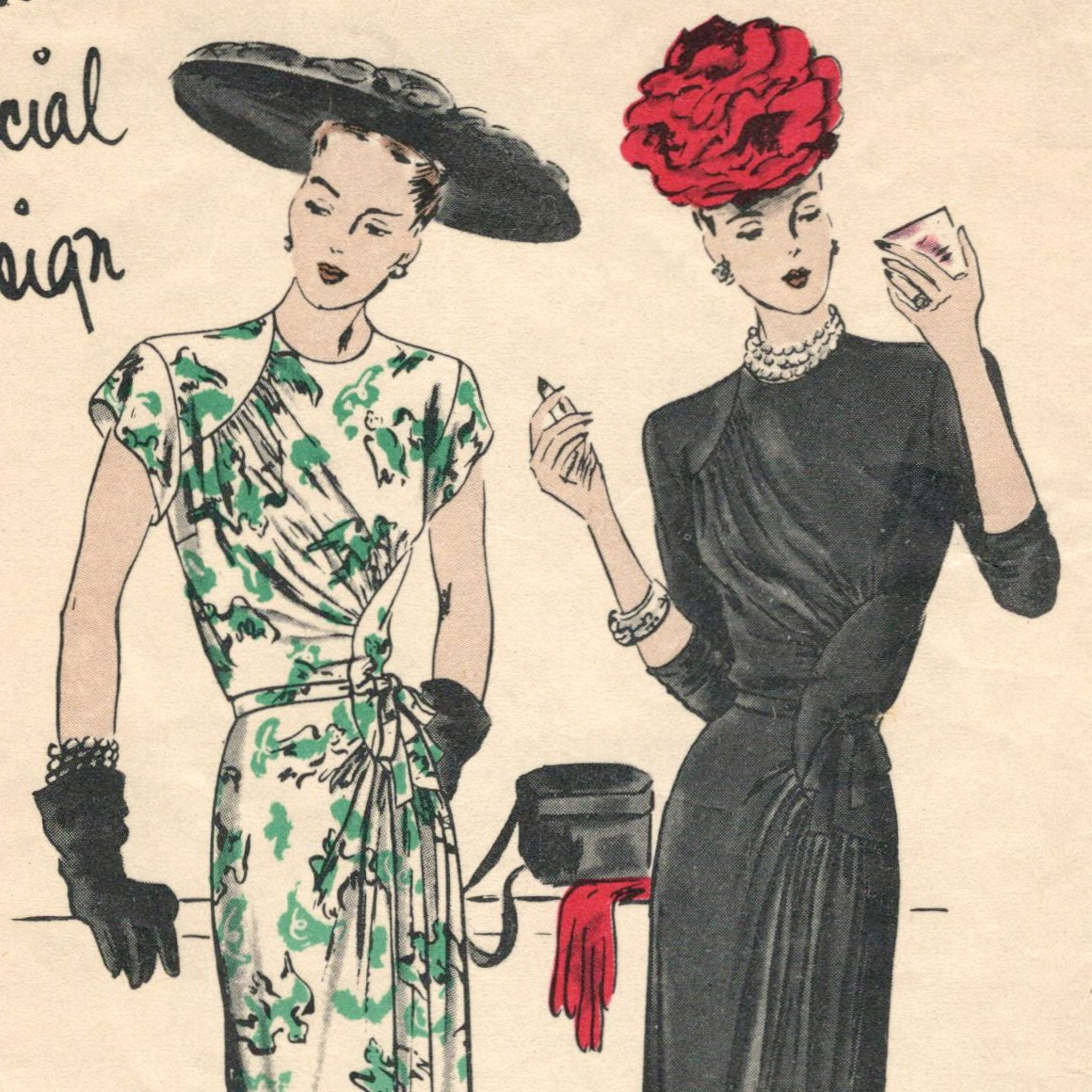 Vogue S-4641 1940s cocktail dress pattern with hats!