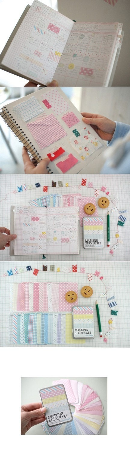 masking sticker - 27sheets pastel set with tin case