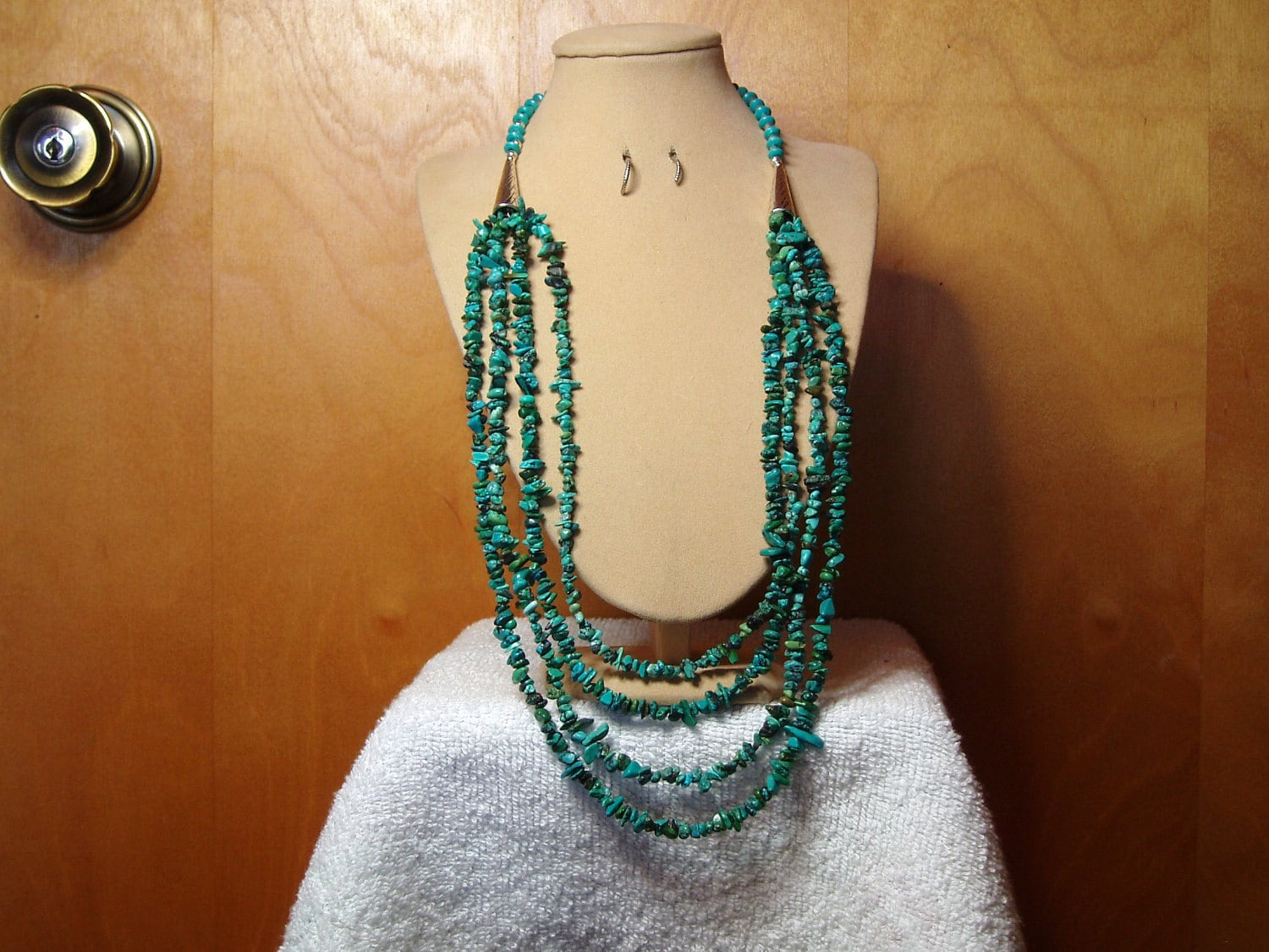 4-Strand Natural Turquoise Stone Chips and Silver Necklace