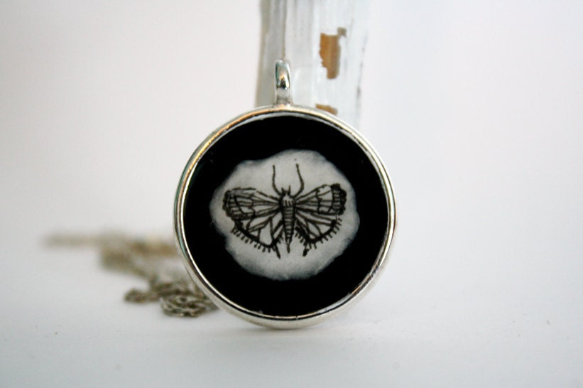 Black Moth- Hand painted necklace