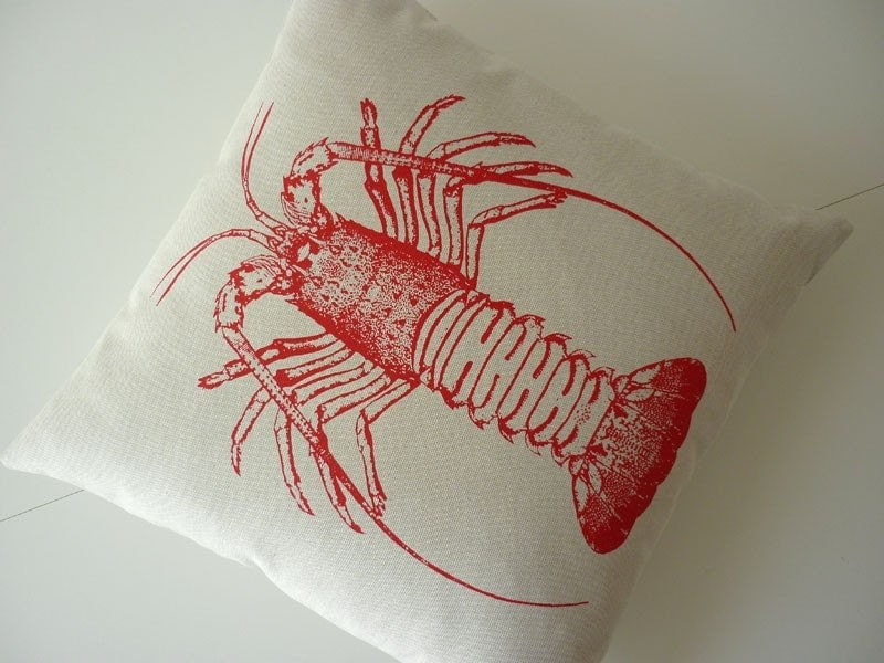 Vintage Spiny Lobster hand silk screened cotton canvas throw pillow 18 inch RED