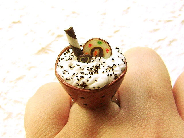 Шоколадное мороженое кольцо Candy торт Kawaii продовольственная
