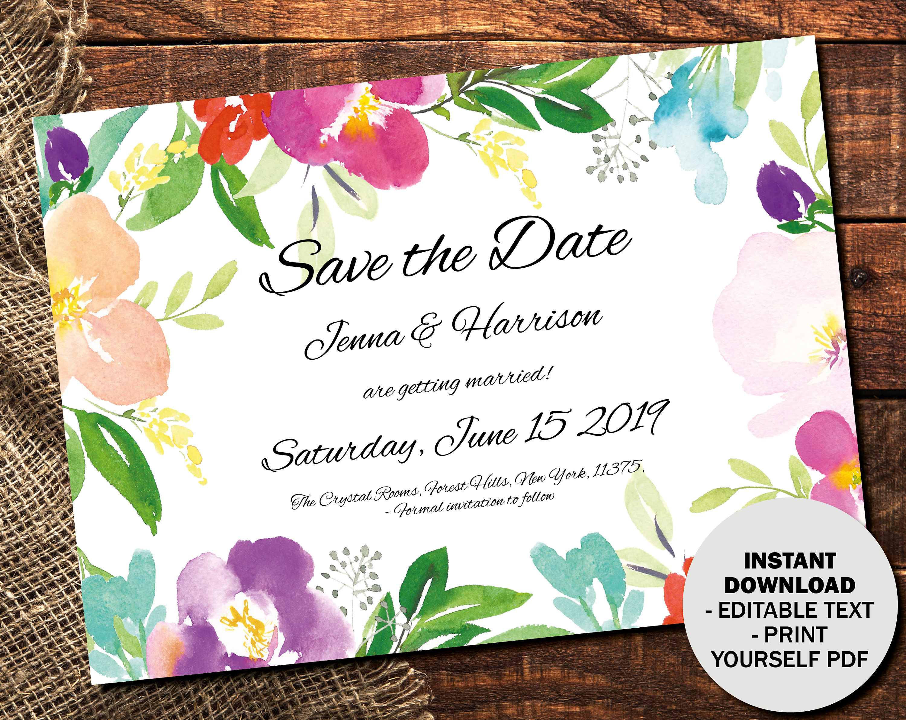 Wedding Save the Date Template Printable Wedding Save the Date Editable Save the Date PDF DIY Save the Date Watercolor Border 1  SAVE1