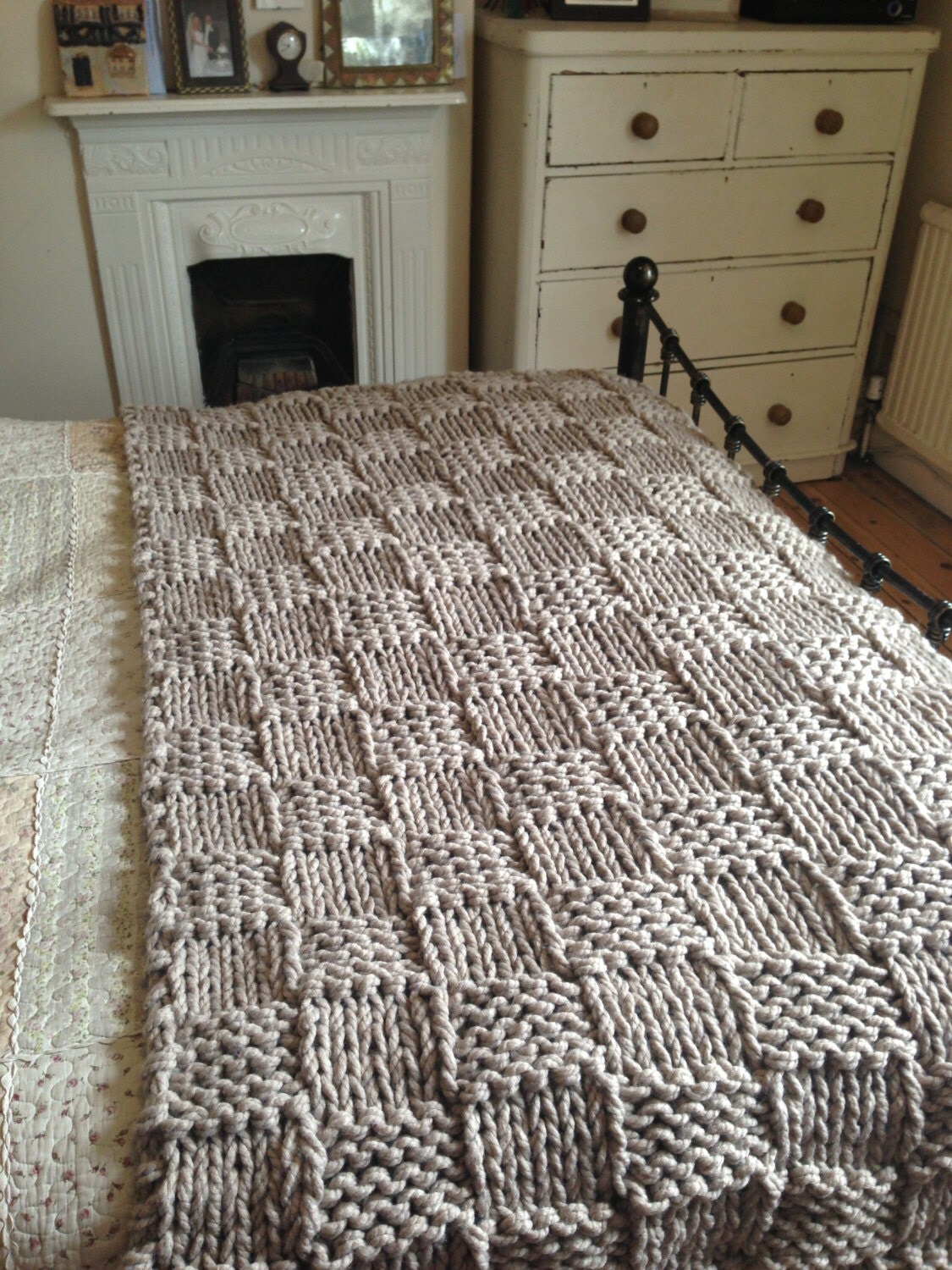 Double Chunky Knitting Patterns : Items similar to Chunky Light Coffee Hand Knitted Blanket / Double and King S...