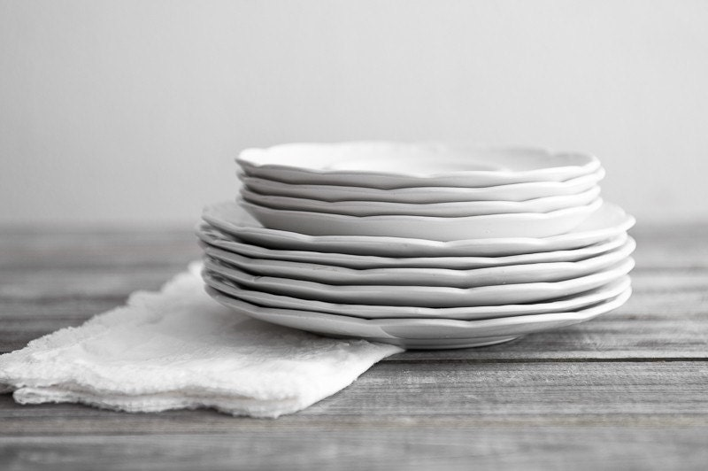 Vintage White Ironstone Plates - Set of 10