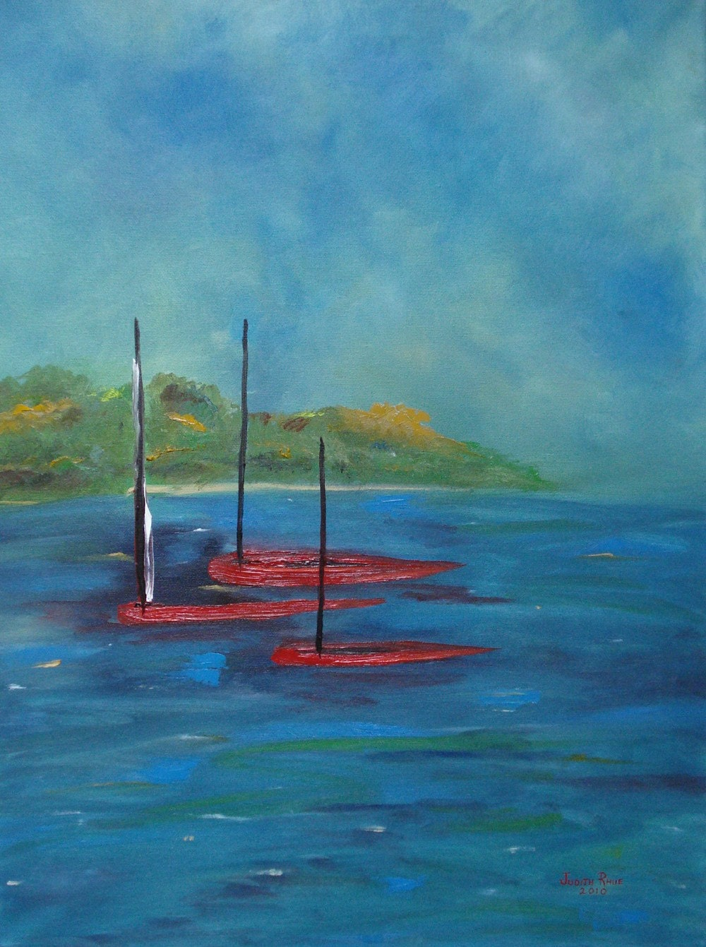 Original Oil  Painting Lake Boats Entitled Red Boats 18 x 24 inches
